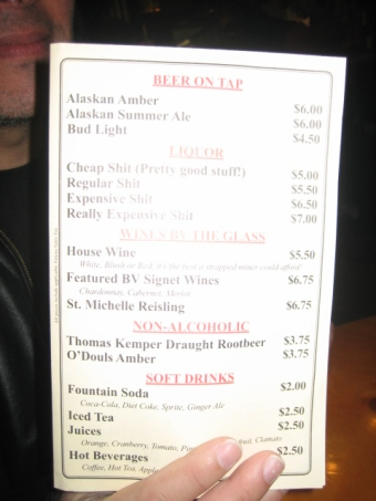 Menu at the Red Dog Saloon!