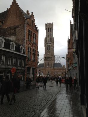 Bell tower over brugges market square