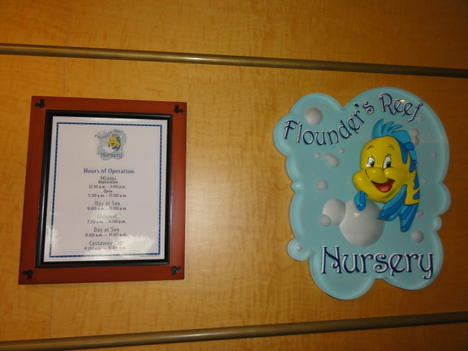 Flounder's Nusery.  The only cruise line that accepts children as young as 18 months old.