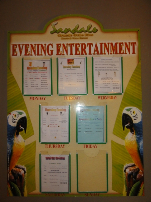 Entertainment in the evenings is included