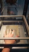 This is my hand touching a piece of moon rock. The closest to outer space I'll ever been (I thought it would be bigger when they said we would be able to touch this by the way....)